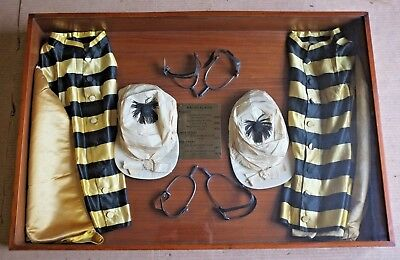 Victorian Horse Racing Silks in Mahogany glass case
