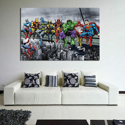 Home Superhero Ink Painting Office Wall Canvas Art Mural Print House Wall Decor