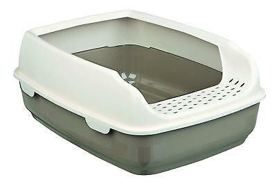 Cat Large Open Litter Tray With High Rim Cats Kitten Toilet Wide Exit Easy Clean