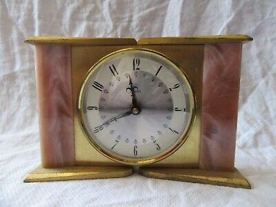 Lot02 - Vintage SMITHS Brass & Onyx MANTLE CLOCK - A/F