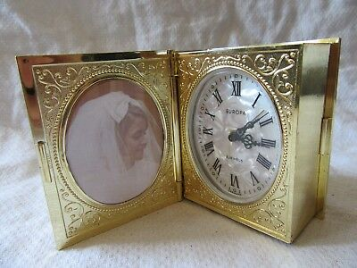 Lot14 Vintage EUROPA Book Travel Alarm Clock & Photo Frame - 2 JEWELS Germany