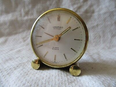 Lot13 - Vintage LOOPING Automagnetic Swiss Made Travel 8 Day Alarm Clock