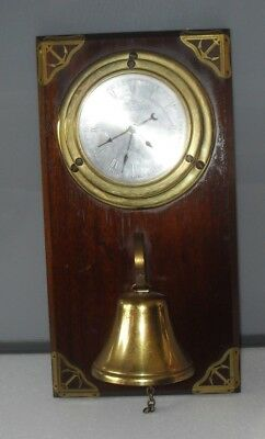 VINTAGE 1970s W.S.C MARITME SHIPS BRASS CLOCK & BELL ON MAHOGANY WALL MOUNT