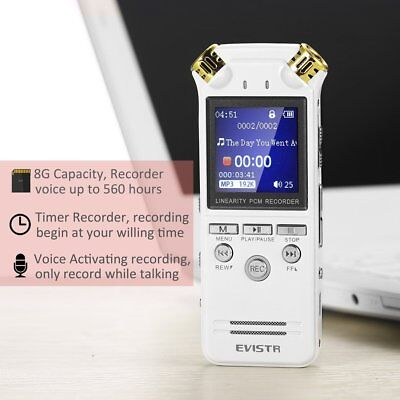 EVISTR Recorder voice Digital Double Microphone Stereo HD 8GB 1,4 Inches