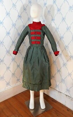 RARE Antique Victorian 1860-1870 Green Silk Taffeta Girls Dress FABULOUS Buttons