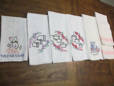 Lot of 7 Vintage Kitchen Tea Hand Towels Guest Towels Linen 5 Embroidered