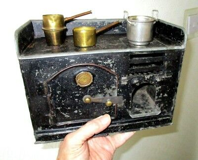 Disston & Sons (USA) metal dolls toy stove with pans - Interesting 1920`s Item