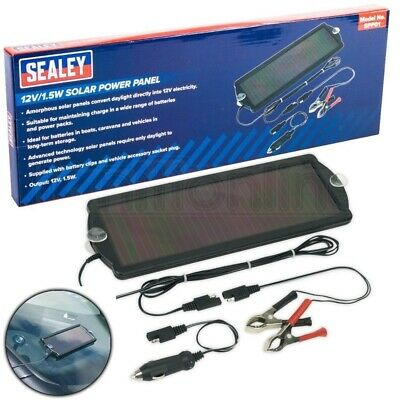 Sealey 12V 1.5W Compact Solar Power Panel Trickle Battery Car Van Boat Caravan