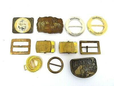 Mixed Vintage Lot Metal Brass RJ USN Navy Raleigh Lights Bakelite Belt Buckles