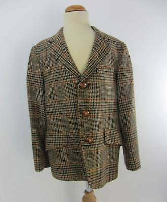 "Boys scottish tweed jacket 100% wool 32"" age 11-12 brown country pursuits riding"