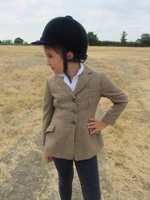 "Girls vintage tweed riding jacket Rosette Matlock and Brown age 8 28"" horse"