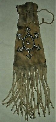 ANTIQUE c1850 PLAINS NATIVE AMERICAN INDIAN FRINGED BEADED TOBACCO PIPE BAG vafo