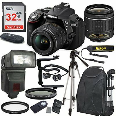 Nikon D5300 24.2 MP Camera w/ AF-P DX NIKKOR 18-55mm f/3.5-5.6G VR Lens Bundle
