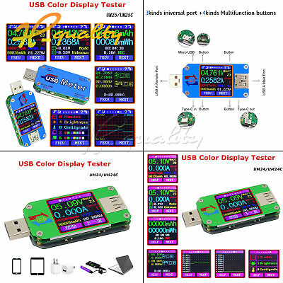 UM25C/24C UM25/24 USB 2.0 Type-C Color LCD Display Tester Voltage Current Meter
