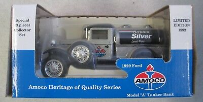 Mib 1992 Amoco Silver Le 1929 Ford Model A Tanker Coin Bank Diecast Metal