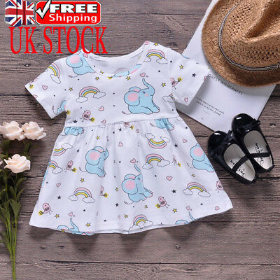 Uk Newborn Baby Girls Elephant Print Mini Dress Short Sleeve Cute Flared Dress