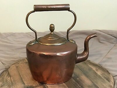 Antique Victorian Large Copper Brass Kettle Swan Neck Acorn Finial Water Tight