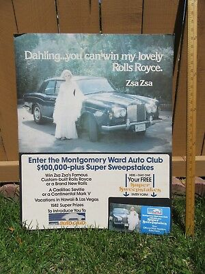 Zsa Zsa Gabor's personal ROLLS ROYCE ADVERTISING Wards Poster 29 x 21
