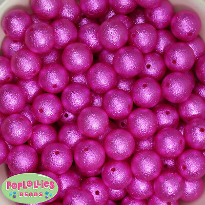 20mm Hot Pink Frosted Style Acrylic Bubblegum Beads 20pc lot Gumball Chunky