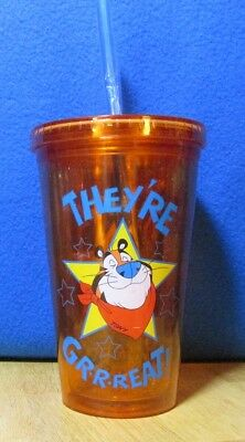 """NEW """"They're Grrreat"""" Tony the Tiger Frosted Flakes Tumbler with Straw Kelloggs"""