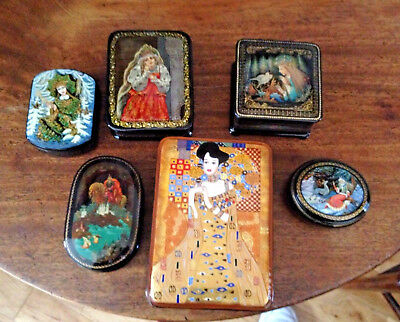 Collection Of Vintage Russian Papier Mache Lacquered Hand Painted Boxes..