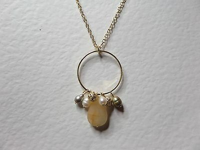 """CREAM AGATE & FWP PEARL DANGLY HOOP NECKLACE GOLD PLATED 18"""" 45 cm LONG"""