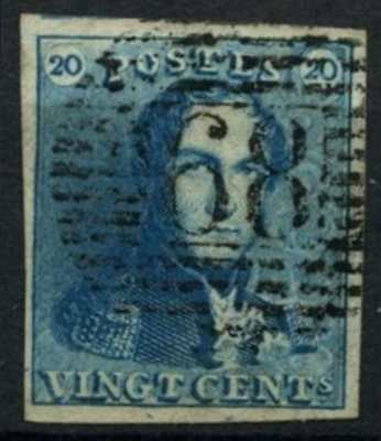 Belgium 1849 SG#2, 20c Blue Epaulettes Used 4 Margins #D74388