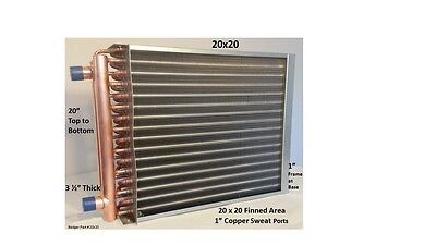 """20x20 Water to Air Heat Exchanger~~1"""" Copper Ports w/ EZ Install Front Flange"""