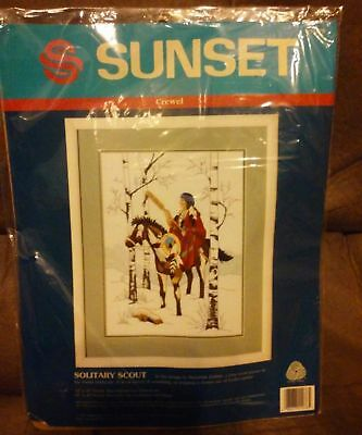 Needlework Solitary American Scout In Snow Scene Sunset Crewel Kit DIY