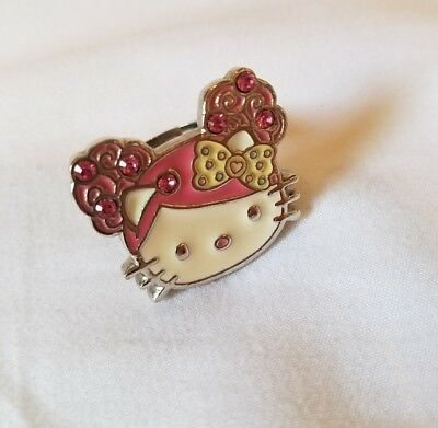 4263e27ab4bc RARE Tarina Tarantino Candy Hello Kitty Pink Head Collection Ring Swarovski
