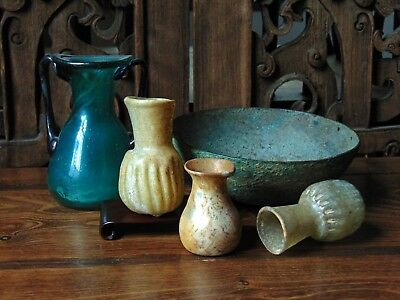 A Group Of Antique Near Eastern Ancient Roman Glass Vessels & Luristan Bowl