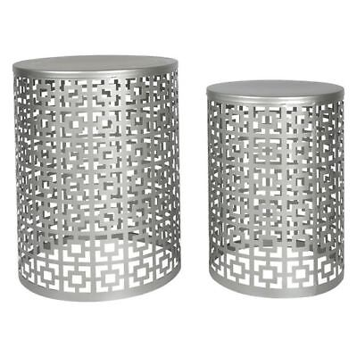 NEW Casa Uno Nyla Side Table, Silver (Set of 2)