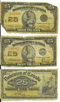 Dominion of Canada 1923 1900 25 Cents lot of 3 Shinplasters G/ VG
