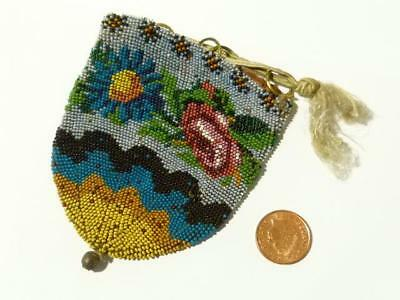 Antique 19thC Hand Micro Fine Beadwork Draw String Purse Floral Pattern #2225D