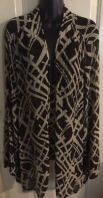New Nwot Maggie Barnes Sz 3X 26 28 Womans Open Jacket Shrug Brown 3/4Th Sleeves