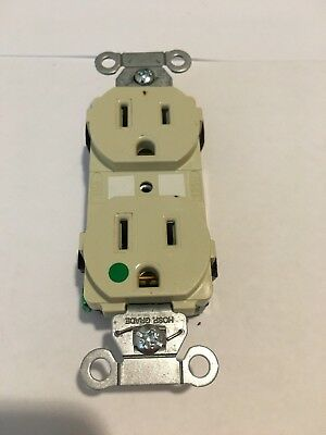 Lot of 2 Hubbell Outlet Green Dot Hospital Grade LVZ3 15A 125V Duplex Receptacle