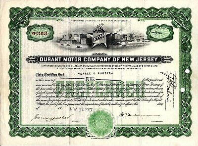 Star Auto 1927 Stock Certificate - of the Durant Motor Company of New Jersey