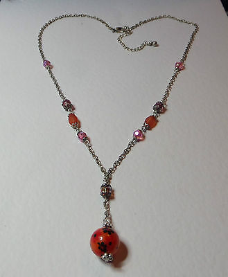 """FLOWER POWER STYLE NECKLACE ORANGE AND PINK AND GREEN SILVER PLATED 24"""" 60 cm"""