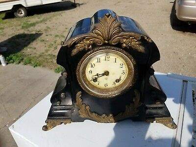 Ansonia Sevres Iron Mantle Clock Antique
