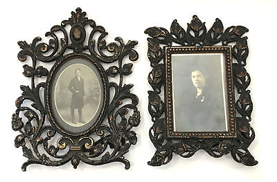 Pair of Antique Victorian Cast Iron Tabletop Picture Frames Calla Lilies