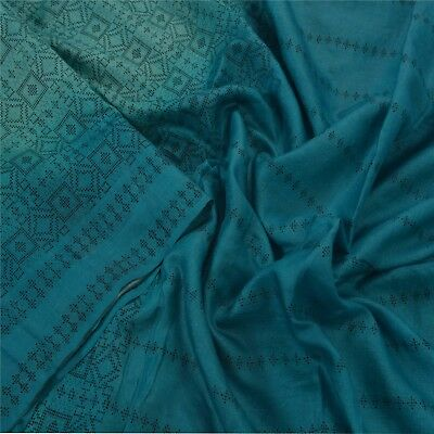 Sanskriti Antique Vintage Blue Saree 100% Pure Silk Woven Sari Craft 5 Yd Fabric