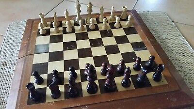 wooden chess set with fold out board