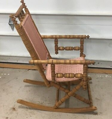 Antique Victorian Carpet Rocker Petite Spindle Rocking