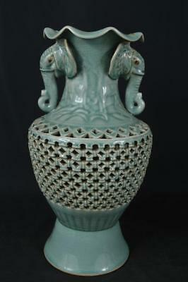 M2755: Korean Goryeo celadon Wickerwork/Ajiro Shapely BIG FLOWER VASE Ikebana