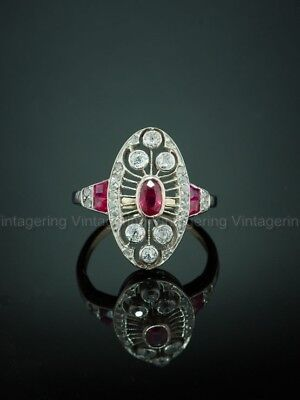 Rare 1 Ct Diamond Vintage Antique Engagement Art Nouveau Deco Ring Circa 1905