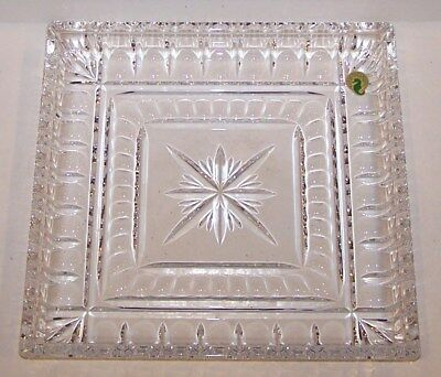 """Lovely Signed Waterford Crystal O'connell Grafton Street 10"""" Square Serving Tray"""