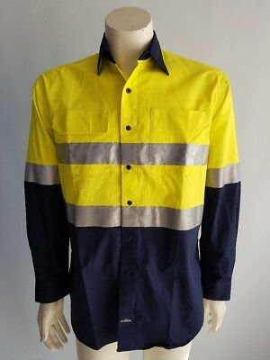Hi Vis Cotton Drill Light Safety Work Shirt Reflective Tape Day Night Long