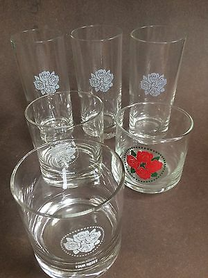 Vintage Four Roses Glasses Kentucky Bourbon Tumblers Summer Sour ~ LOT OF 6