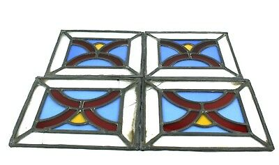 Antique Stained Glass Window Panels Set of 4 Reclaimed
