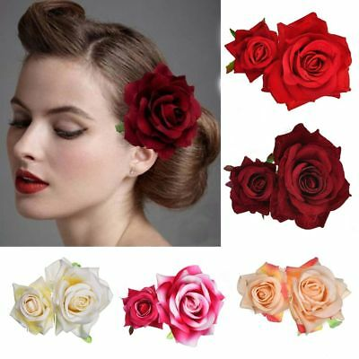 Bridal Rose Flower Hair Clip Hairpin Brooch Wedding Accessorie Bridesmaid UK